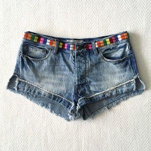 Free People Elliott Embroidered Rainbow Shorts
